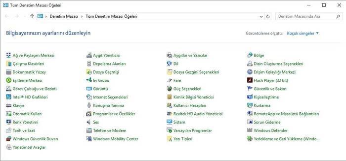 Windows 10 Denetim Masası
