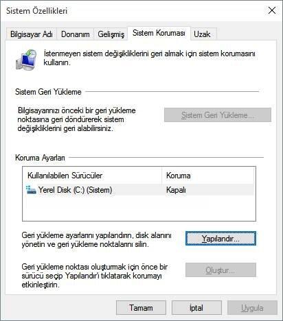 Windows 10'da Sistem Geri Yükleme