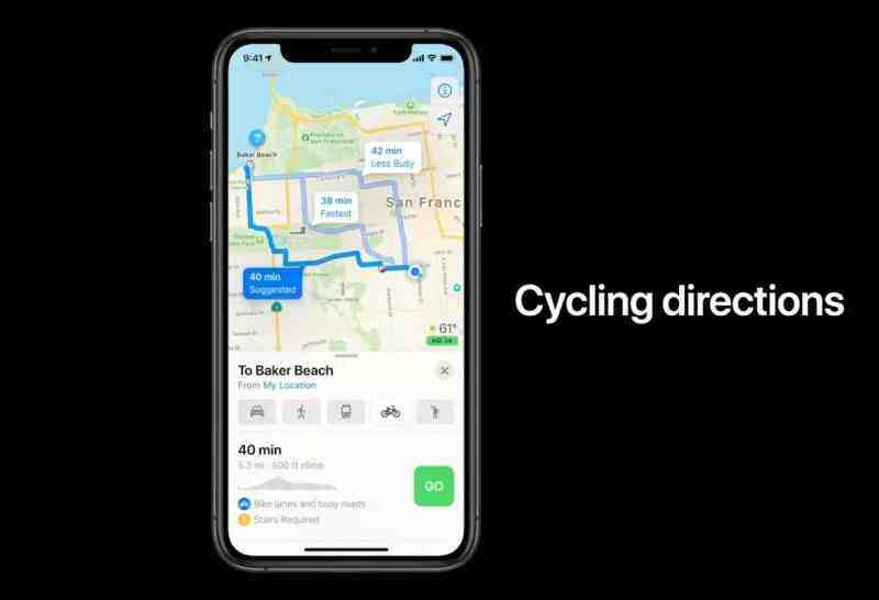 Apple Haritalar, isiklet kullananlar için yokuşları söyleyebilecek
