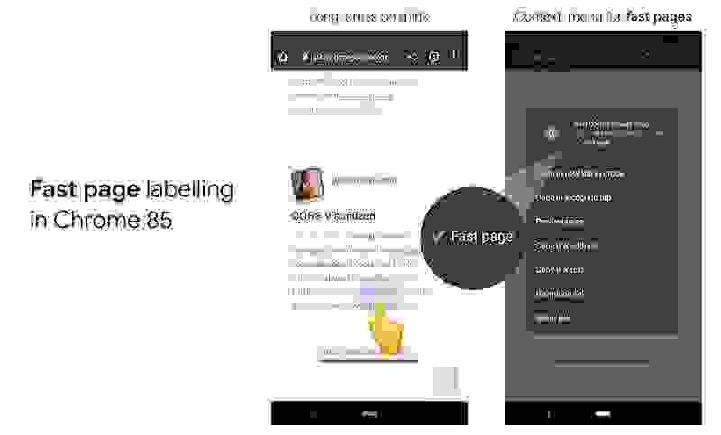 """Chrome Android uygulamasına """"hızlı sayfa"""" etiketi geliyor"""