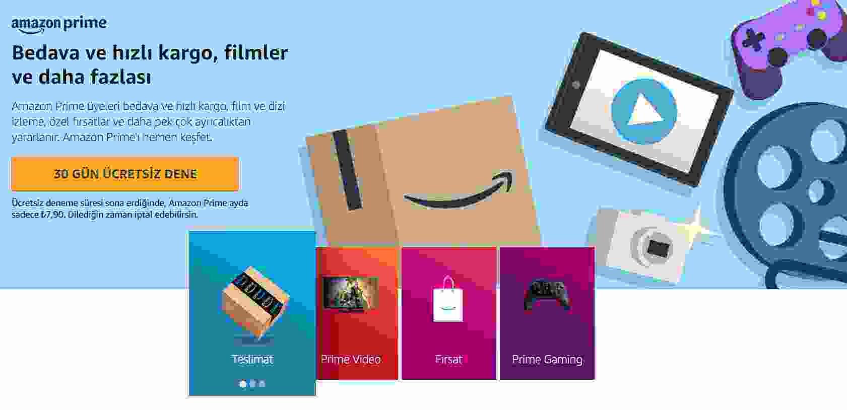 Amazon Prime Türkiye bugün devreye girdi, deneme süresi, fiyatı ve ücretsiz kargo, aynı gün teslimat gibi avantajları nedir, aşağıda bulabilirsiniz.