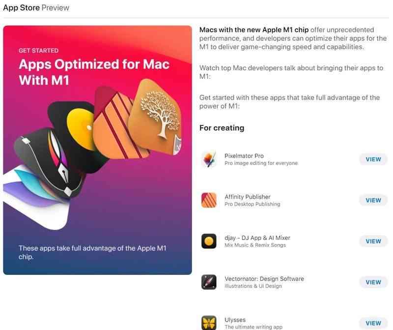 Apple, M1 işlemcisi için en popüler Mac uygulamalarını yayınladı