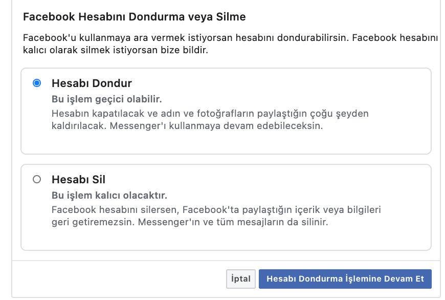 Facebook hesap silme ve devre dışı bırakma [Nasıl Yapılır]