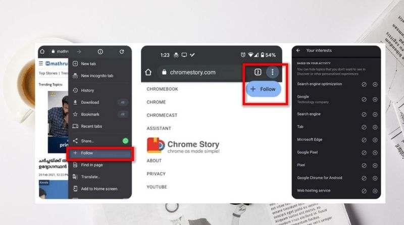 Chrome, web sitelerini takip etmek için bir düğme gösterir