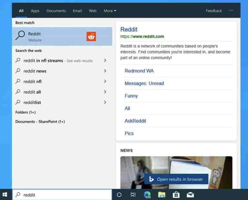 Microsoft Edge, Windows 10 aramasına entegre olur