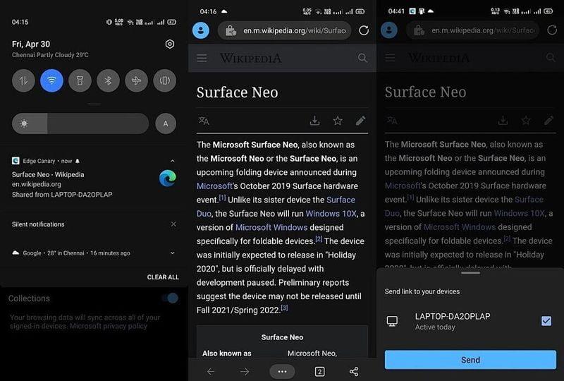 Microsoft Edge, Windows 10 ve Android arasında sekmelerin gönderilmesine izin verecek: Edge Canary'de bu şekilde çalışıyor
