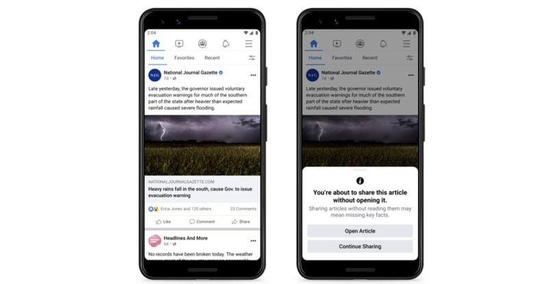 Facebook, paylaşmadan önce haber kaynağınızı okumanızı teşvik edecek