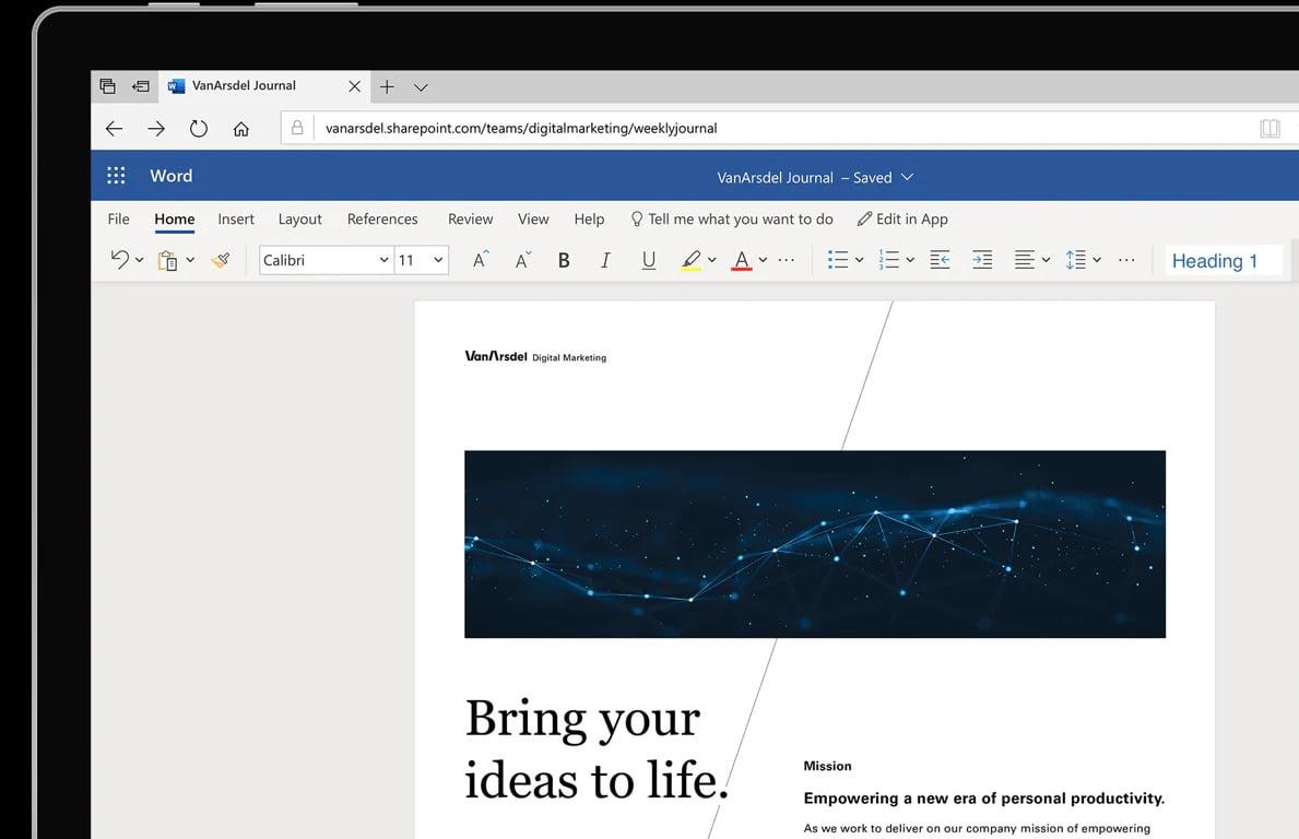 Word Online'da kapak sayfası oluşturma