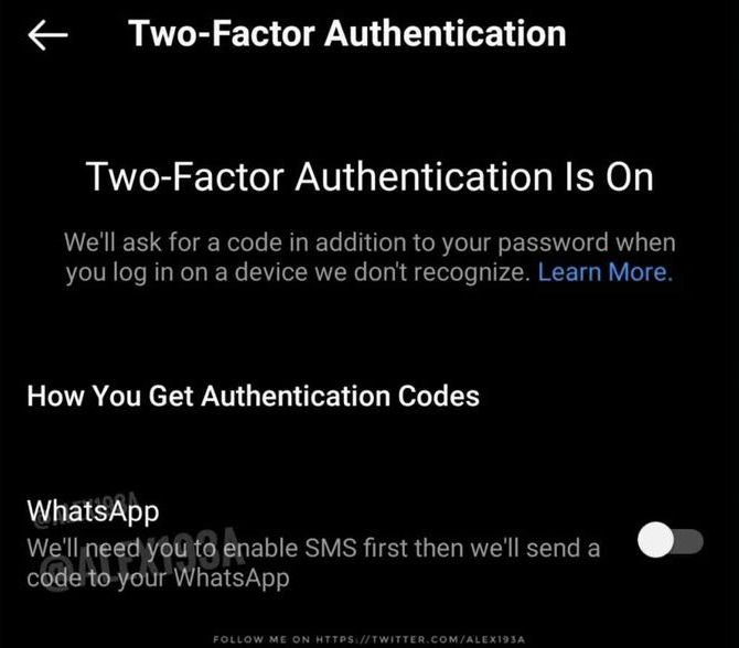 Instagram, WhatsApp aracılığıyla kod göndererek iki faktörlü kimlik doğrulamaya izin verebilir