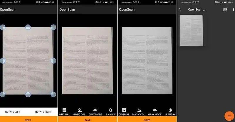 OpenScan: Android için açık kaynaklı bir belge tarayıcı