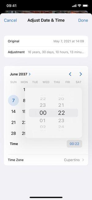 iOS 15 Fotoğraflar'da bir fotoğrafın veya videonun tarihi, saati ve konumunu ayarlama