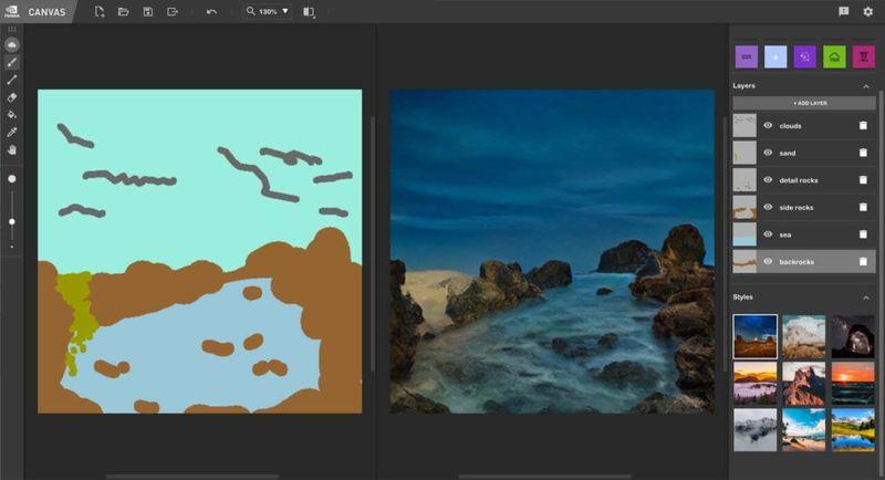 NVIDIA Canvas, eskizleri gerçek görüntülere dönüştürmek için ücretsiz yapay zeka yazılımı