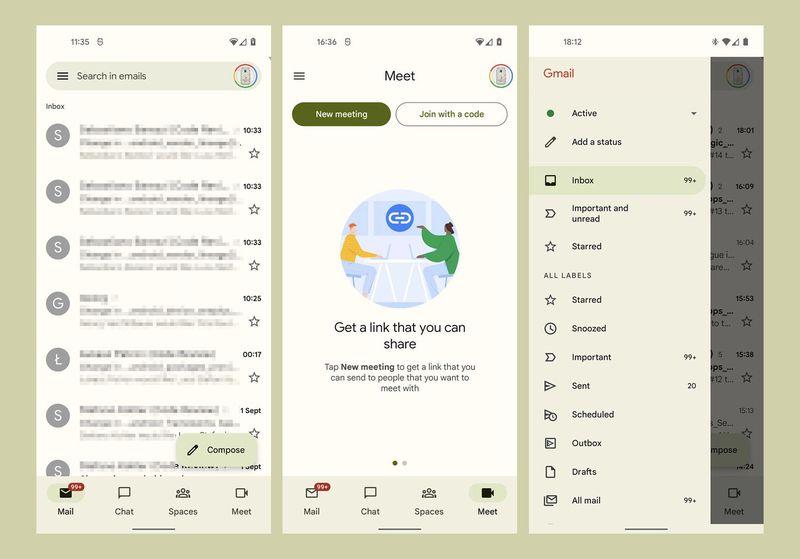Gmail, Android 12 için güncelleniyor
